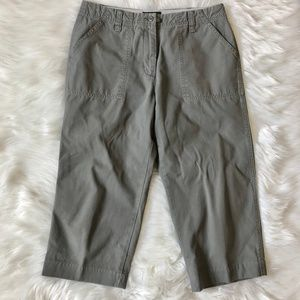 EDDIE BAUER Olive Green Crop Chino Pants Cotton 8